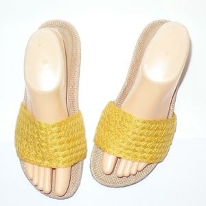 MIA Yellow Woven Casual Slides Sandals 7.5